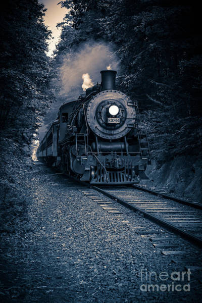 Photograph - Night Train Essex Valley Railroad by Edward Fielding