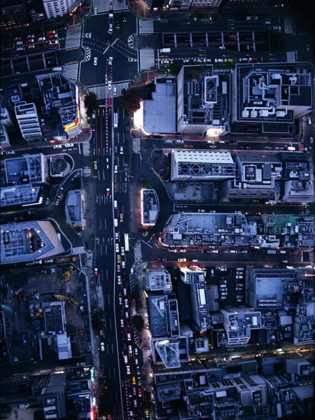 Ginza Wall Art - Photograph - Night View Aerial Photography Of Ginza by Michael H
