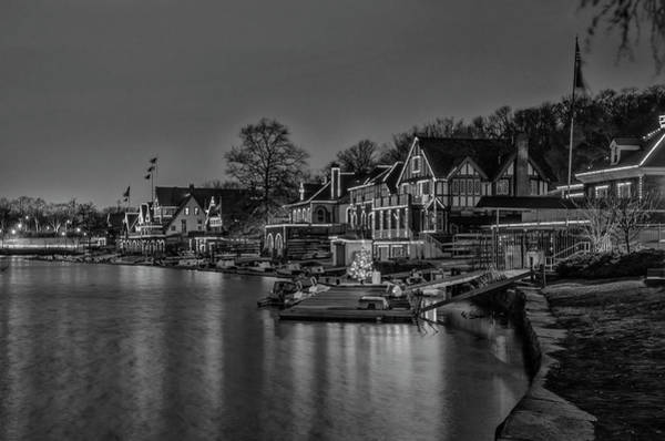 Wall Art - Photograph - Night View - Boathouse Row - Philadelphia In Black And White by Bill Cannon