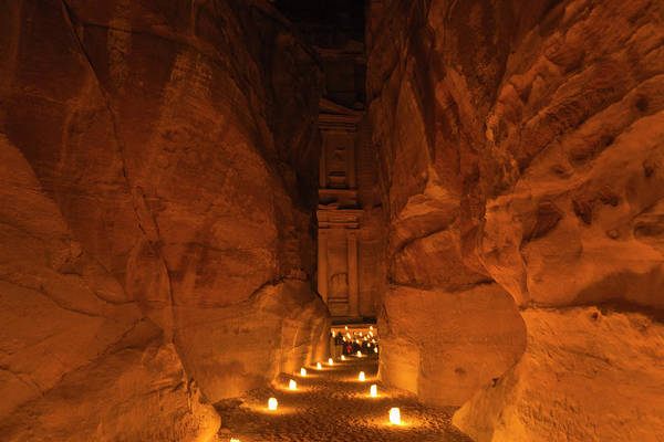 Geology Photograph - Night View Of Candles Burning At Al-siq by Danita Delimont
