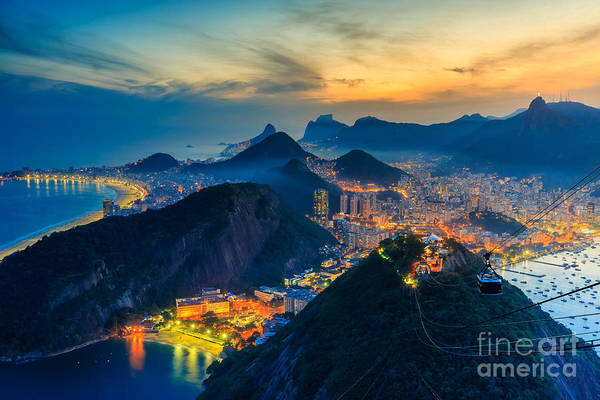 South Beach Wall Art - Photograph - Night View Of Copacabana Beach, Urca by F11photo