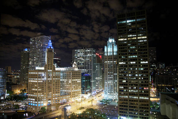 Chicago Tribune Wall Art - Photograph - Night View Of Downtown Skyscrapers by Barry Winiker