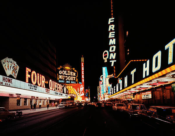 Photograph - Night View Of Fremont Street by Bettmann