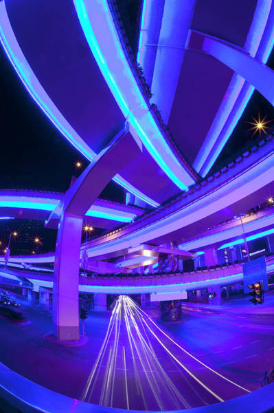Wall Art - Photograph - Night View Of Highway Overpasses by Grant Faint