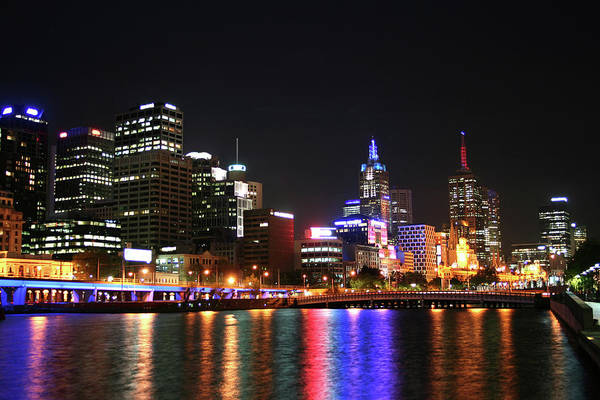Southbank Photograph - Night View Of Melbourne City by Chrisho