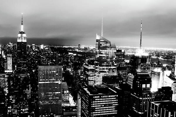 Celebration Photograph - Night View Of New York by Night View Of New York City From Rockefeller Center