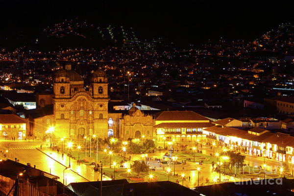 Photograph - Night View Of Plaza De Armas Cusco Peru by James Brunker