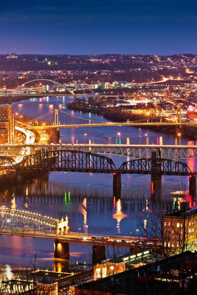 Journey Photograph - Night View Of River And Bridges by Bob Stefko