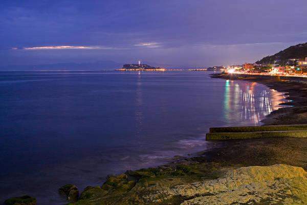 Kanagawa Wall Art - Photograph - Night View Of Yuigahama Beach by Photography By Zhangxun