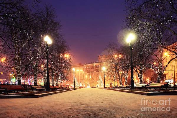 Snowflakes Photograph - Night Winter Landscape In Amazing City by Kichigin