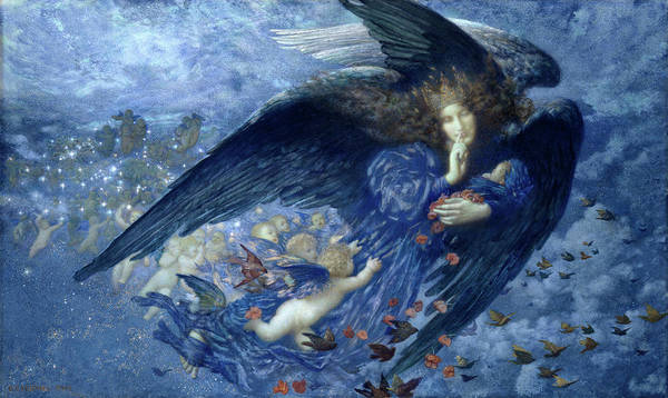 Pre-raphaelite Brotherhood Painting - Night With Her Train Of Star by Edward Robert Hughes