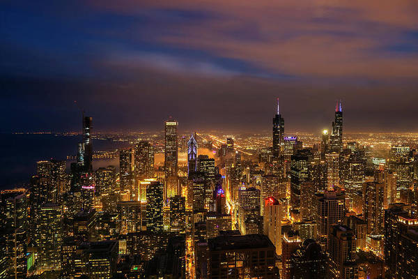Wall Art - Photograph - Nightfall Over Chicago by Andrew Soundarajan