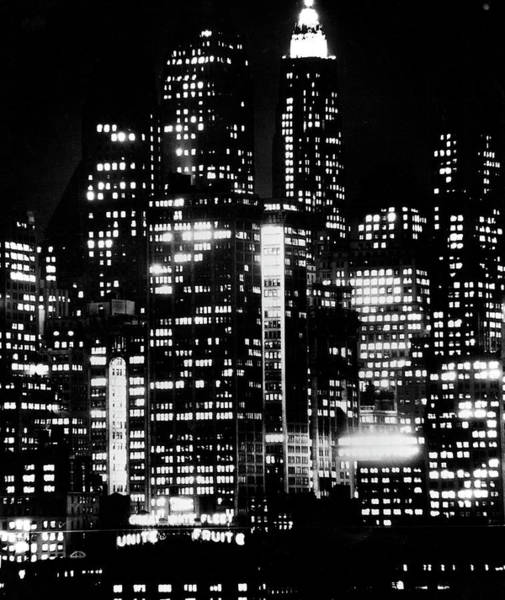 Photograph - Nightime View Of New York City Skyscrape by Andreas Feininger