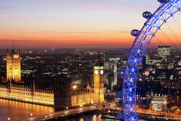 The Clock Tower Photograph - Nightshot London Eye, Big Ben Houses Of by Laurie Noble