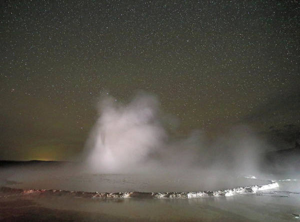 Photograph - Nighttime At Great Fountain Geyser by Jean Clark