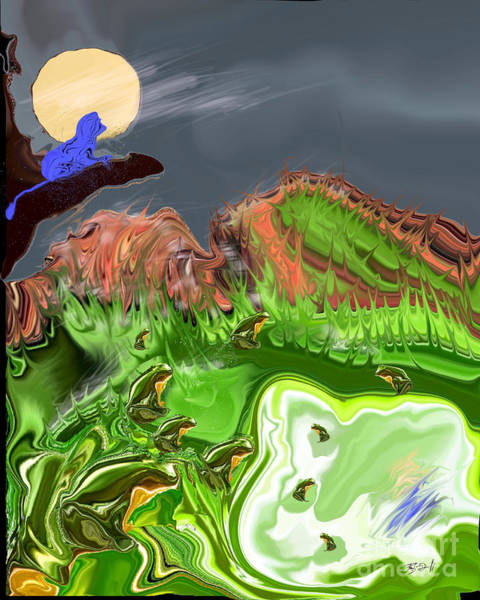 Digital Art - Nighttime At The Frog Pond by Rob Mandell