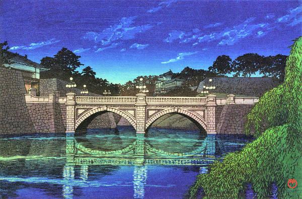 Wall Art - Painting - Nijyu Bridge - Digital Remastered Edition by Kawase Hasui