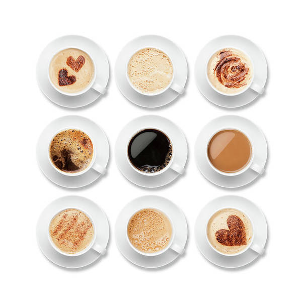 Photograph - Nine Different Coffees In White Cups by Anthiacumming