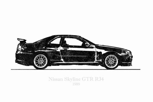 Nissan Digital Art - Nissan Skyline Gt-r R34 1989 Black And White Illustration by JESP Art and Decor