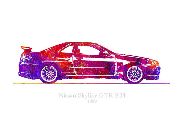 Nissan Digital Art - Nissan Skyline Gt-r R34 1989 Watercolor Illustration by JESP Art and Decor