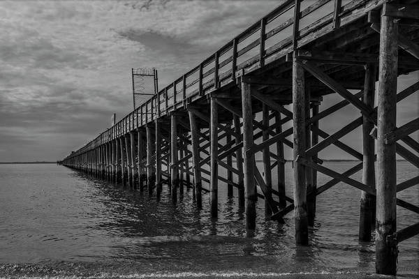 Photograph - Nj Keansburg Fishing Pier Bw  by Susan Candelario