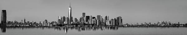 Photograph - Nj Nyc Skyline Panorama Bw by Susan Candelario