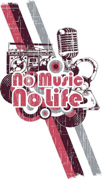 Digital Art - No Music No Life Retro Style Studio by Passion Loft