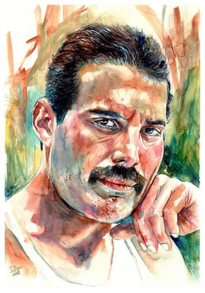 Shower Curtain Painting - No One But You - Freddie Mercury Portrait by Suzann Sines