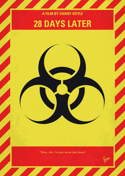 Late Wall Art - Digital Art - No1029 My 28 Days Later Minimal Movie Poster by Chungkong Art