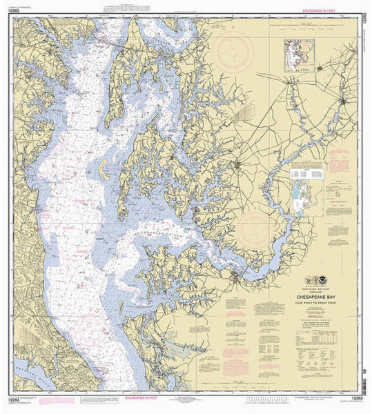 Digital Art - Chesapeake Bay, Cove Point To Sandy Point Nautical Chart 12263 by Paul and Janice Russell