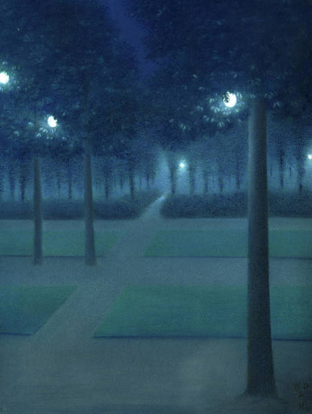 Wall Art - Painting - Nocturn In The Parc Royal, Brussels by William Degouve de Nuncques