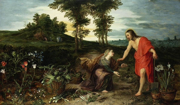 Wall Art - Painting - Noli Me Tangere by Jan Brueghel the Younger
