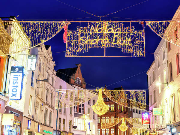 Wall Art - Photograph - Nollaig Shona Duit Grafton Street In Dublin by John Rizzuto