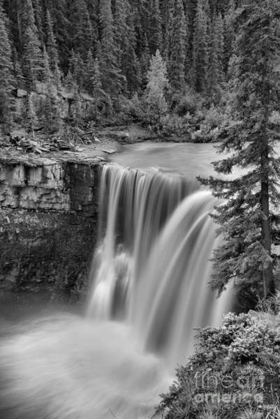 Photograph - Nordegg Crescent Falls Portrait Black And White by Adam Jewell