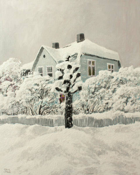 Wall Art - Painting - Nordic Town Houses - The House And The Poplar Tree by Hans Egil Saele