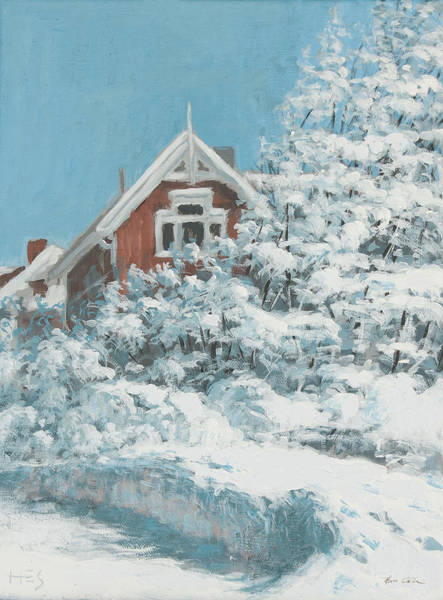 Wall Art - Painting - Nordic Town Houses - There's A Red House Over Yonder by Hans Egil Saele
