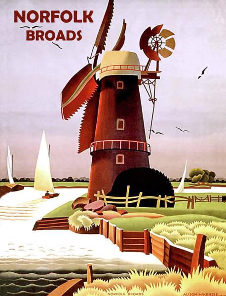 Windmill Digital Art - Norfolk Broads by Long Shot