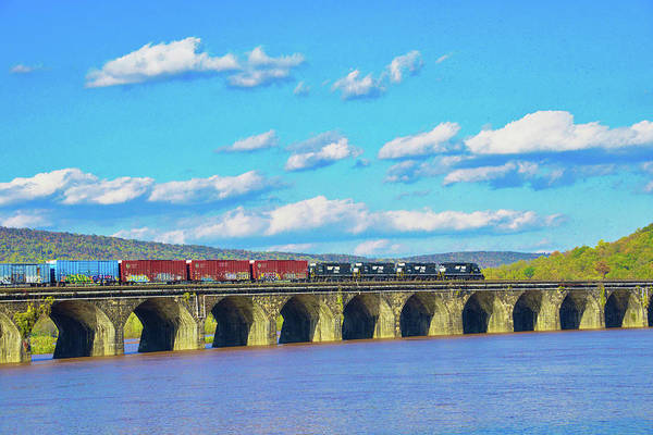 Photograph - Norfolk Southern Crossing The Rockville Bridge by Paul W Faust - Impressions of Light