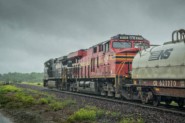Norfolk Southern Railway Wall Art - Photograph - Norfolk Southern Heritage Unit 8114 Trails Behind Ns 9318, On 60a, As It Heads Toward Huntingburg In by Jim Pearson