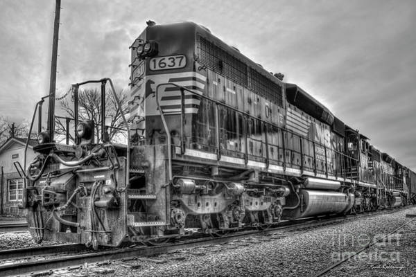 Wall Art - Photograph - Norfolk Southern Locomotive Number 1637 B W Tennille Georgia Train Art by Reid Callaway