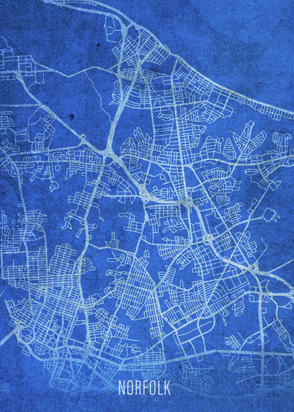 Norfolk Wall Art - Mixed Media - Norfolk Virginia City Street Map Blueprints by Design Turnpike