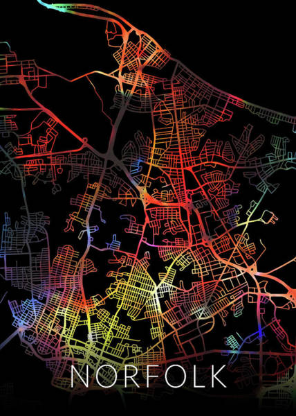 Norfolk Wall Art - Mixed Media - Norfolk Virginia City Watercolor Street Map Dark Mode by Design Turnpike