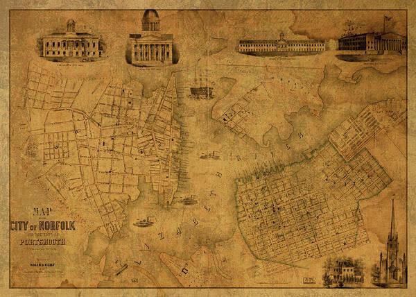 Norfolk Wall Art - Mixed Media - Norfolk Virginia Vintage City Street Map 1851 by Design Turnpike