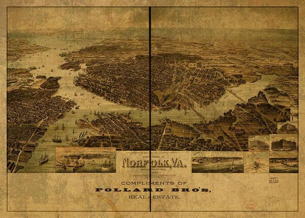 Norfolk Wall Art - Mixed Media - Norfolk Virginia Vintage City Street Map 1892 by Design Turnpike