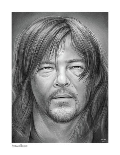 Television Drawing - Norman Reedus by Greg Joens