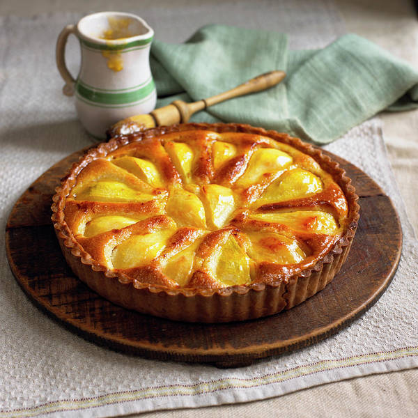 Napkin Photograph - Normandy Pear Tart With Apricot And by William Reavell
