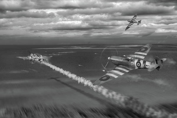 Photograph - Normandy Spitfire Attack Bw Version by Gary Eason