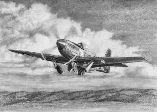 Drawing - North American P-51 Mustang Takeoff by Douglas Castleman
