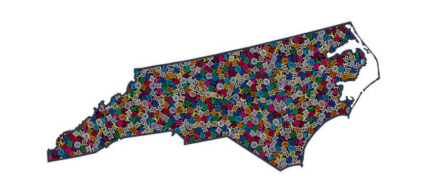 North Carolina Painting - North Carolina Map - 1 by Nikita