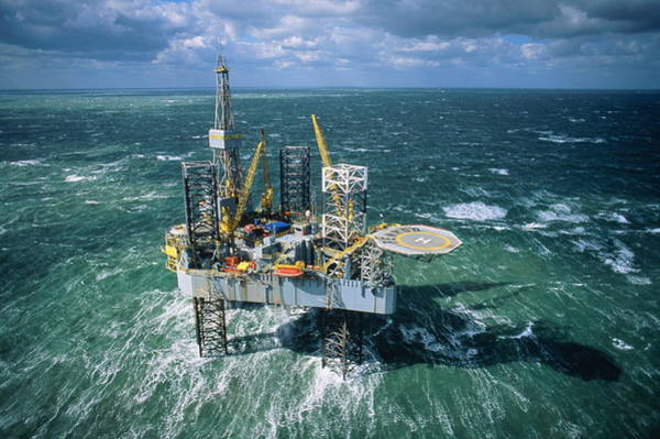 Offshore Wall Art - Photograph - North Sea Oil Exploration Rig, Aerial by Keith Wood
